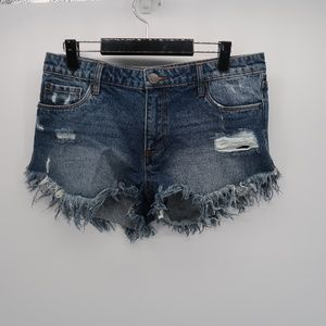 STS Blue Distressed Frayed Denim Jeans Shorts